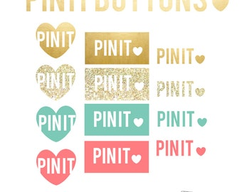 Pin It Buttons // Social Media Icons // Blog Graphics // Web Elements // Pinterest Blog Buttons // Instant Download // PNG & JPG