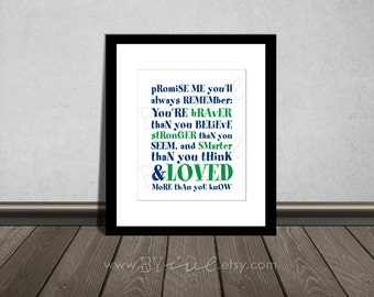 You are BRAVER than you believe, Winnie the Pooh quotes, Nursery printable. Navy blue and green. DIY Printable.