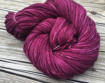 Sparkle Sock Yarn Song of the Sirens Hand Dyed Hand Painted cranberry maroon 438 yards superwash merino nylon stellina fingering