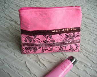 make-up pink lace and rhinestones