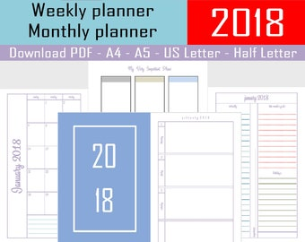 A4 A5 US Letter Half Letter Monthly Planner Printable Planner Monthly To Do Wall Calendar Wall Monthly Planner Monthly Goals Planner