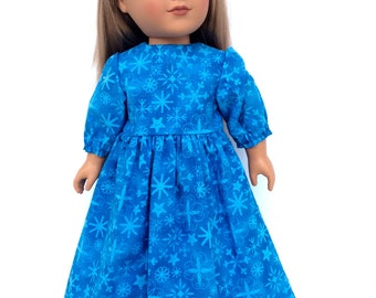 Snowflake Dress, 18 Inch Doll Dress, Blue Sparkly Snowflake Dress, Winter Doll Clothes, 18 Inch Doll Clothes