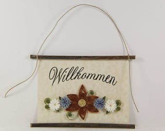 Willkommen, German Welcome, Paper Quilled German Welcome Sign, 3D Quilled Banner, Paper Flower Decor, Brown Blue White Decor, Germany Gift