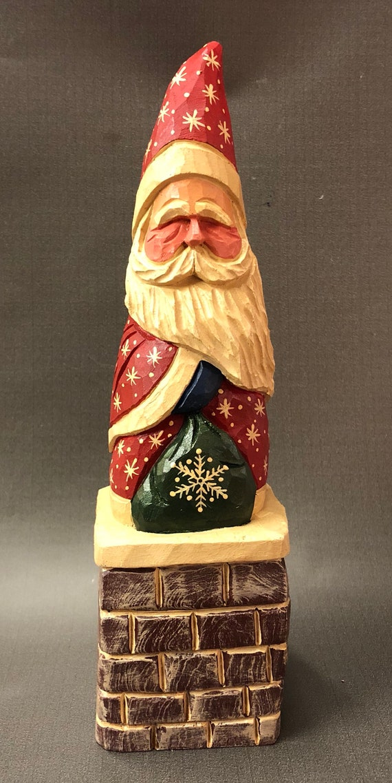 HAND carved original Santa on a chimney w/ bag from 100 year old Cottonwood Bark.
