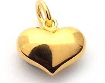 14mm puffed heart charm gold on st. silver, gold plated sterling silver heart charm , puffy gold heart charm , vermeil heart charm