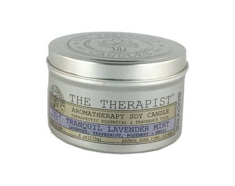 Scented Soy Candle < No. 06 Tranquil Lavender Mint>- Hand Poured - Moderately Fragrant - 6 oz - Tin Can