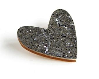 Silver Grey Glitter Heart Pin, Glitter Heart Brooch, Wooden Love Heart Brooch Pin, Valentines pin, Galentines