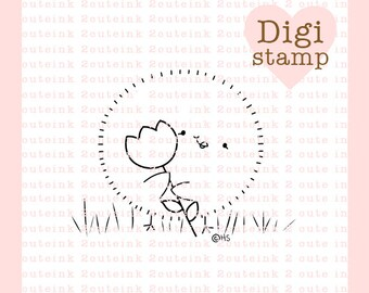 Tulip Chick Digital Stamp for Card Making, Paper Crafts, Scrapbooking, Hand Embroidery, Invitations, Stickers, Coloring Pages
