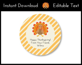 Thanksgiving Favor Tags, Thanksgiving Gift Tags, Fall Gift Tags, Thanksgiving Gift Ideas, Turkey Gift, Instant Download, Editable