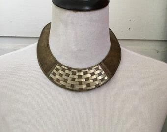 Vintage Brass Gold Choker necklace Statement Jewelry