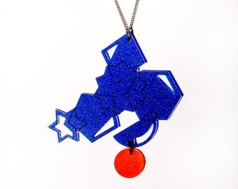 Statement geometric Pendant Necklace - Blue