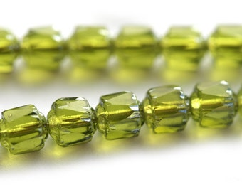 6mm Olive green Cathedral Czech Glass beads, olivine fire polished round beads, light silver ends - 20Pc - 0192