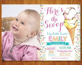 Ice Cream Birthday Invitation with Photo. Ice Cream Party Invite. Watercolor Ice Cream. Our Little Sweetie. Summer Party. Printable Digital.
