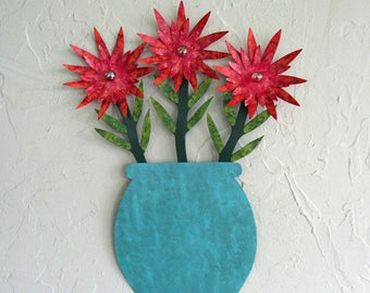 Metal Wall Decor Flower Sculpture Art Recycled Metal Indoor Outdoor Wall Hanging Rustic Cottage Decor Red Green Teal Aqua 11 x 15