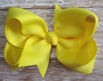 Large 6 inch Grosgrain Hair Bow in Yellow Big Girls Boutique Style Hairbow