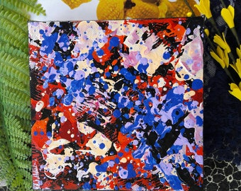 SUMMER CARNIVAL - Original acrylic abstract painting  (6 x 6 inches on boxed canvas)