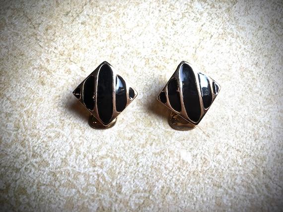 Black and Gold Enamel clip on Earrings
