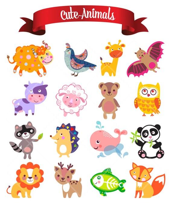 Susse Lustige Tiere Digital ClipArt Kinderzimmer Decor Baby Dusche Verzierungen Druckbare Clipart Instant Download Kommerzielle Nutzung