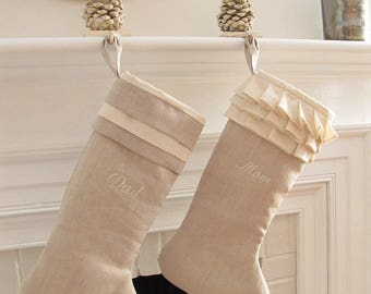 Linen Personalized Christmas Stockings Pair Embroidered Wedding Gift Better Homes and Gardens