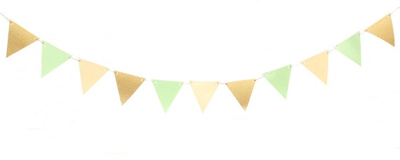 Mint Green Gold Ivory Triangle Flag Banner / Mint Green Gold