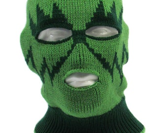 Knitted Green Ski Mask  Tuque Convertible