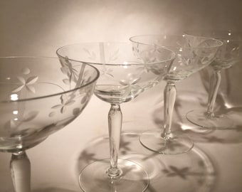 4 Vintage Crystal Coupes - 2 Sets Available