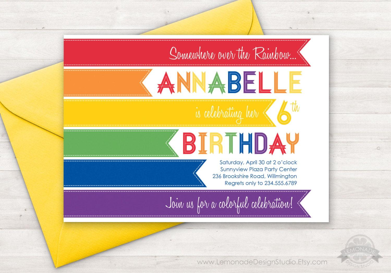 Rainbow Invitation Modern Rainbow Birthday Party Invitation