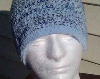 Crochet winter hat, sky blue with dark blue and tan accents