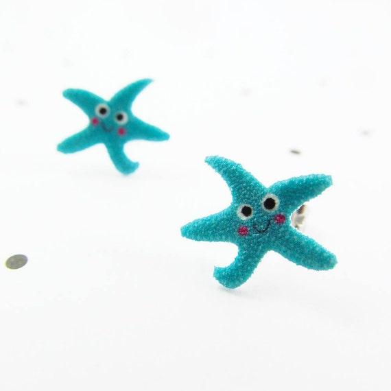 Blue starfish, starfish earring, comic starfish, blue, sea world, earring, print on plastic, stainless stud, handmade, les perles rares
