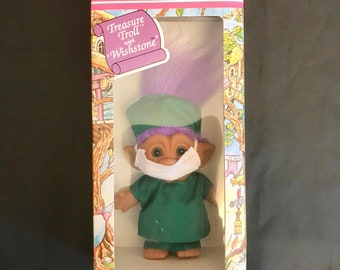 Vintage Ace Novelty doctor Treasure Troll with Wishstone original package