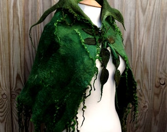 Custom Handmade green cape-Made to order -Woodland Felted cape -  fairytale cape-elven cape - Fairy cape - cape-green cape-spring-wedding