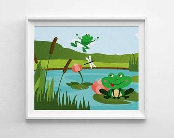 Frog nursery print, kids poster, nursery printable, wall art print, kids bedroom decor, frog wall art decor, frog decor, frog nursery decor