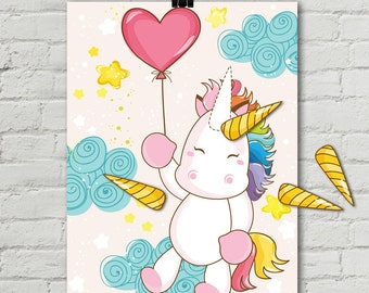 "Unicorn Party - Pin the Horn Unicorn Game - 24""x36"" Magical Unicorn Party, Birthday Party, Rainbow 