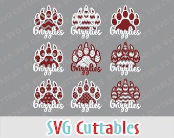 Grizzlies svg, Grizzlies paw print svg, dxf, eps, png, Grizzlies mascot, Silhouette file, Cricut cut file, digital download