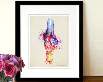 "Fine Art Print, ""Watercolor Knee Joint"",  8.5"" x 11"", Osteopathic Nurse Practitioner gift, Chiropractor art, Orthopedic Surgeon, Knee Doctor"