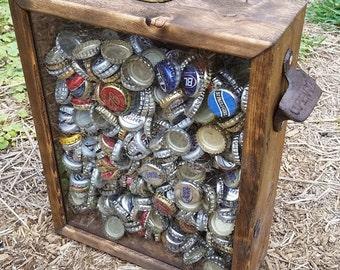 "PERSONALIZABLE Bottle Cap & Beer Cap Holder Shadowbox with Rustic Bottle Opener - MEDIUM Size (9.5""x12"")"