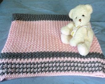 Pink/Gray Crochet Baby Blanket