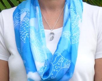 Blue scarf, printed scarf, infinity scarf, unique design, scarf, women's scarf, chiffon scarf