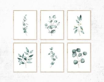 Eucalyptus Watercolor Print set of 6 Instant Art INSTANT DOWNLOAD Printable Wall Decor