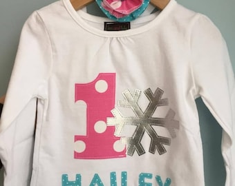 Winter ONE-DERLAND birthday shirt with name. First birthday, 1st birthday, one shirt, two shirt, snowflake, winter, snow, snowflake one, one