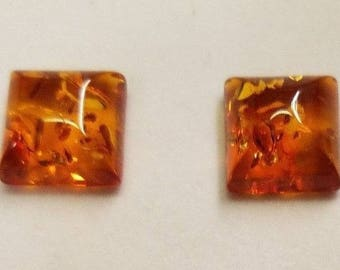 Natural Amber Square Cabochon High Quality 8mm 10mm 12mm sizes