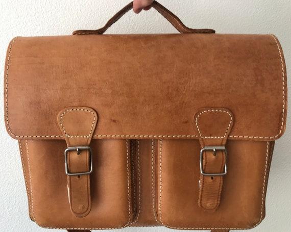 Vintage Russian leather book bag   brown cognac schoolbag   Leather business bag   Large shoulder bag   Leather laptop bag    Office bag