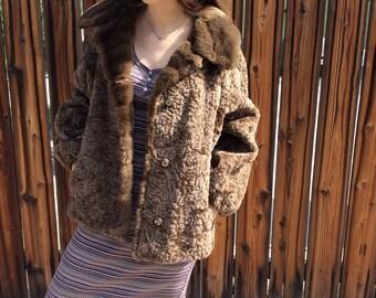 Vintage Brown Faux Fur Teddy Coat Medium Brown Swing Coat