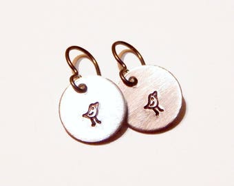 Bird Earrings Small Hand Stamped