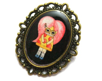 Pepper O'Neill - Pepperoni Pizza Girl Pin - Black or Blue