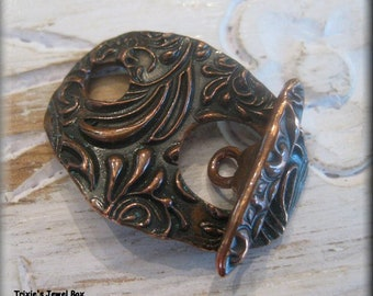 Handmade Oversized Focal Point Copper Toggle Clasp - One Unique Clasp!!