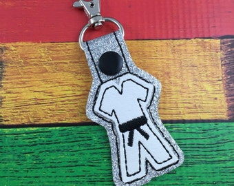 Karate keychain - clip on keyring for tae kwon do - martial arts icon on a bagcharm karate gift - karate GI - gifts for him