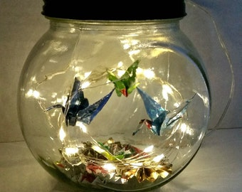 Hand-Folded Origami Cranes in Jar w/fairy lights & Origami Fans/Mothers day Gift/Unique Gift/desk Lamp/Origami mobile/Night Light/Home Decor