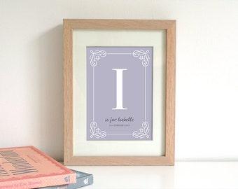 Custom Monogram Digital Print, Personalised Name Print, Nursery Print, Baby Wall Art, Printable