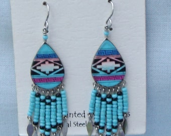 Hand Painted Southwest Earrings Long Seed Bead Turquoise